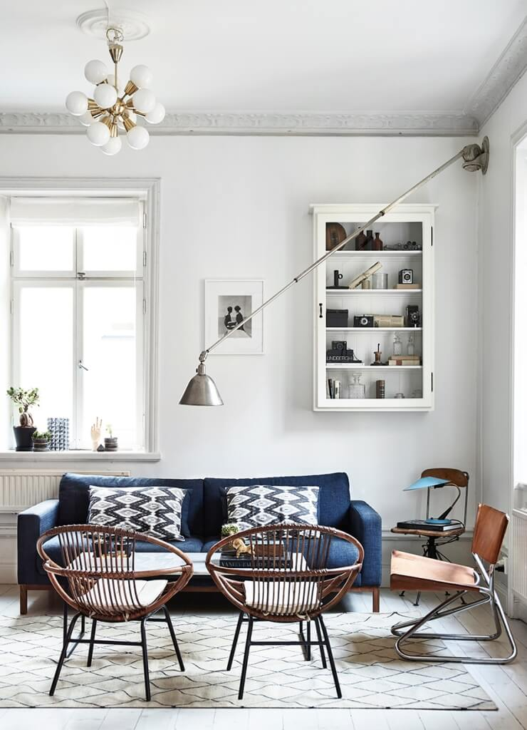 living room wicker chairs ceiling lamp