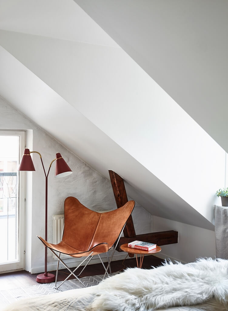 bedroom chair and lamp