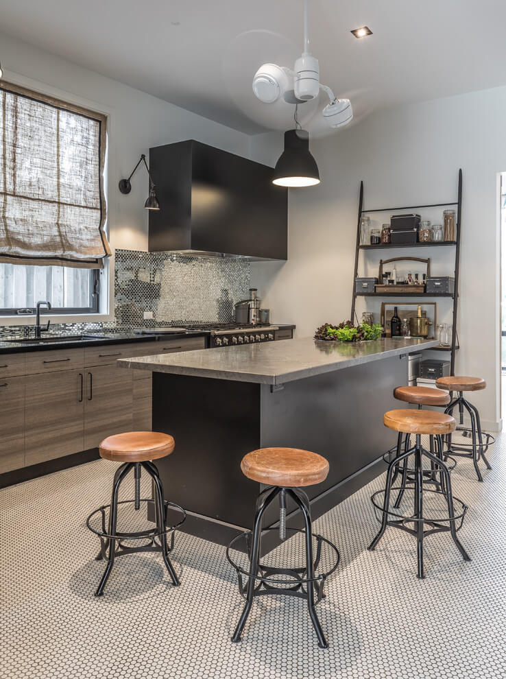 gray islets with stools