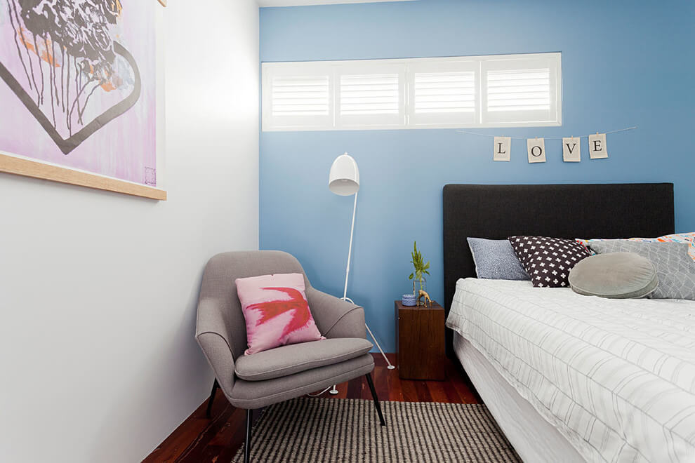shutters with blue wall
