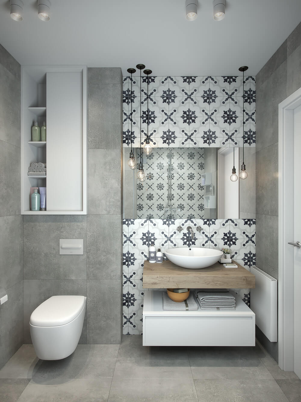 gray and white bathroom tiles