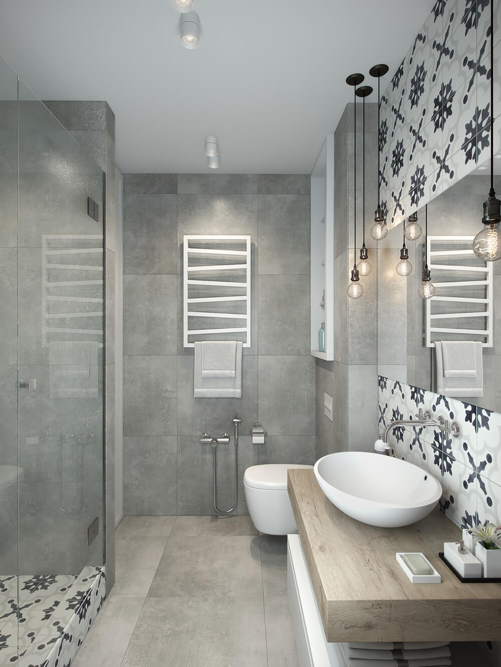small bathroom with bold tiles