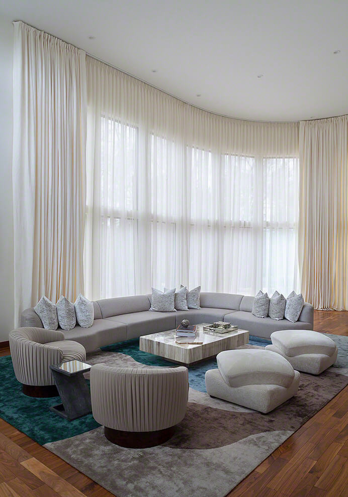 Tailor made folding curtains contemporary living room