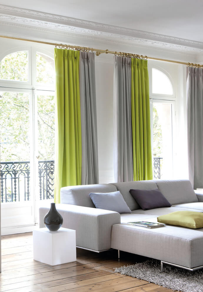Lime Green Curtain Livingroom
