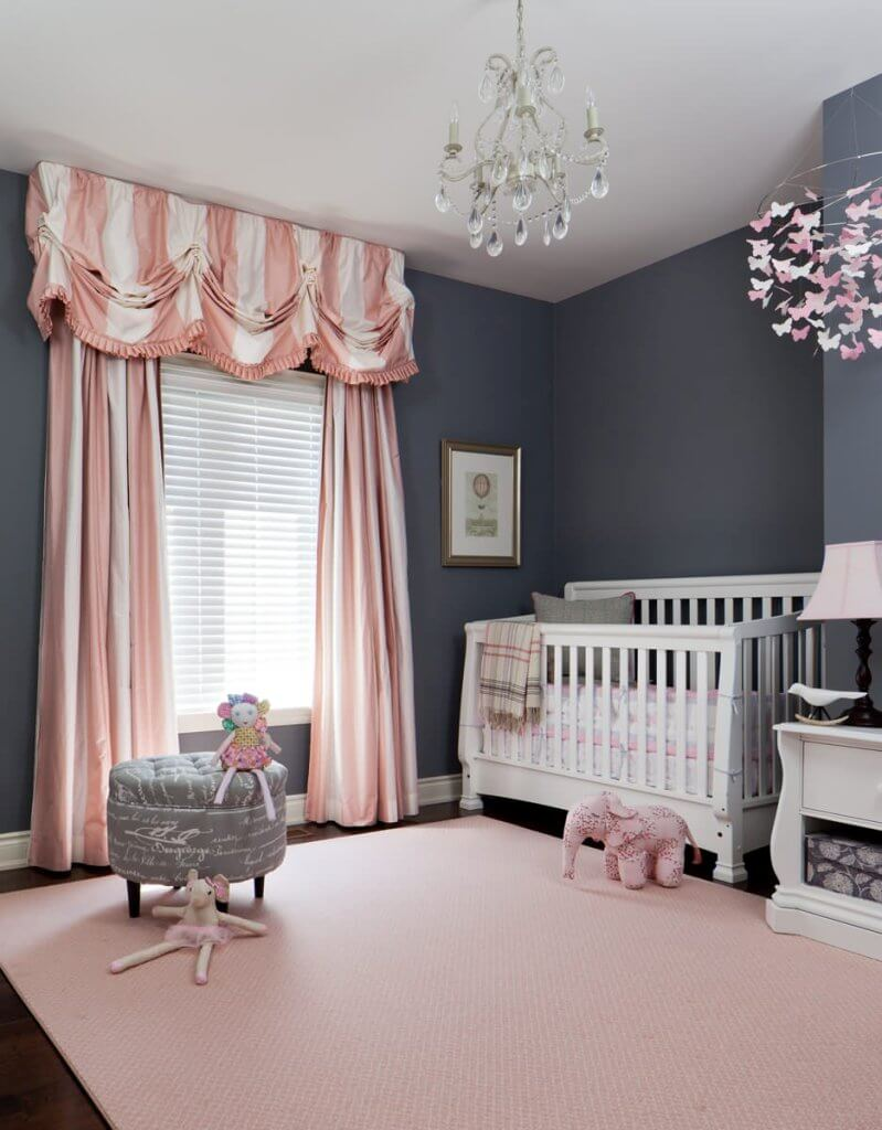 Patterned pink curtains traditional nursery