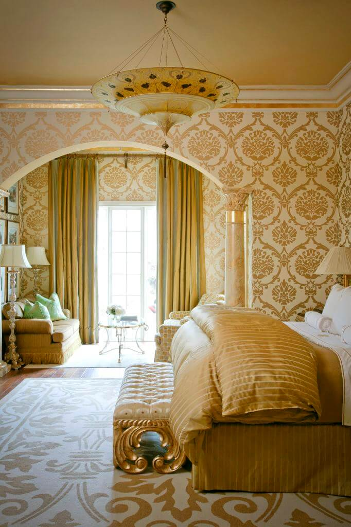 Royal golden bedroom curtains