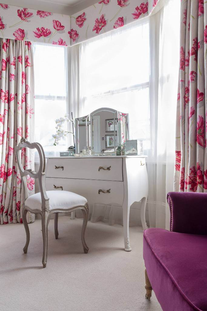 Floral Curtains Pop or Pink Bright Bedroom Makeup Space