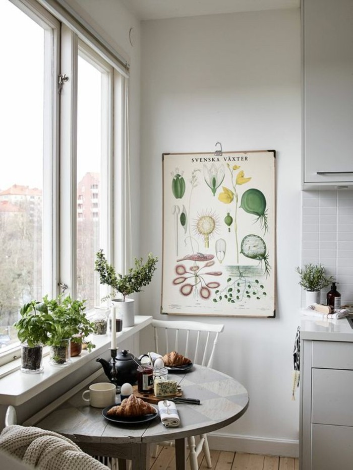 Small kitchen with window sill decoration dining area