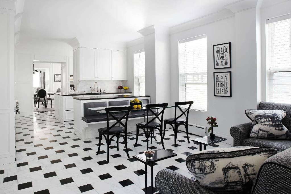 Open concept Kitchen black and white marble floor
