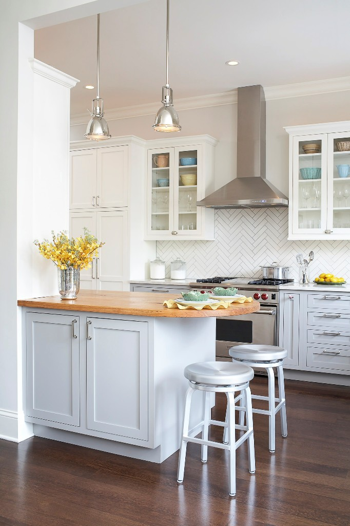 Herringbone pattern Modern to traditional classic country kitchen