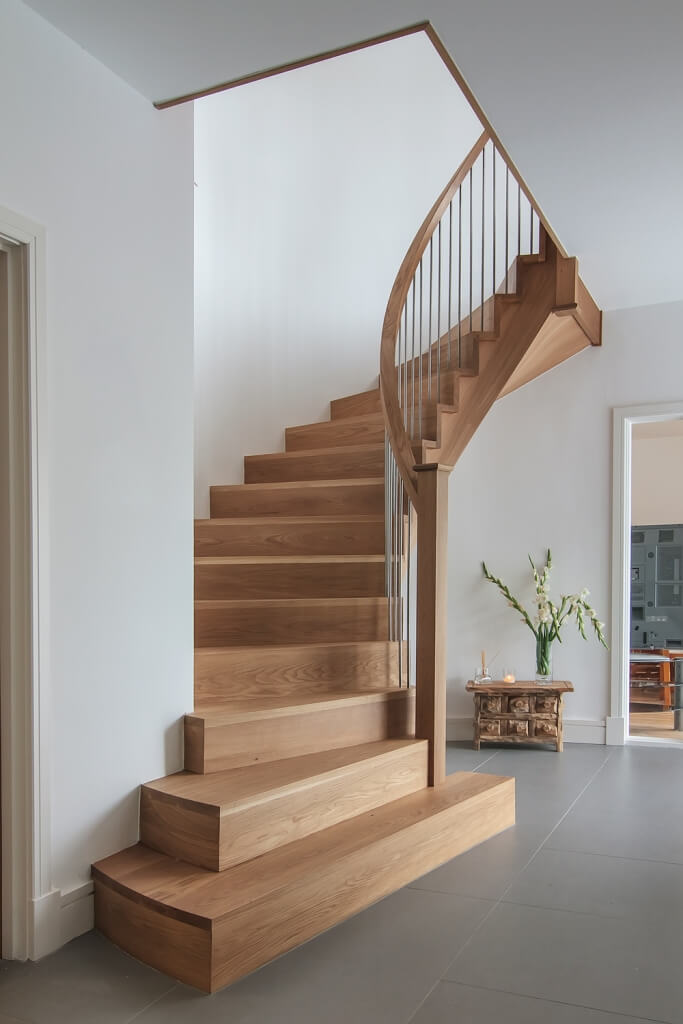 American Preston Cut stringer Curved Stair Design