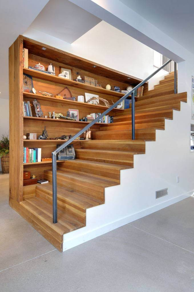 Steel railing for modern wooden stairs with shelves