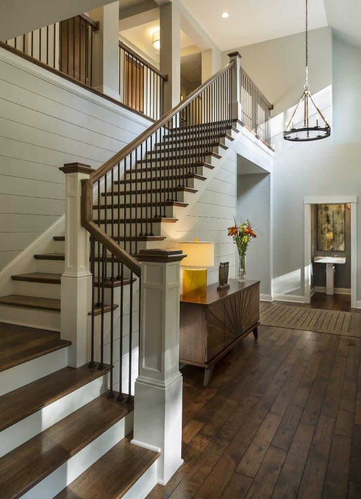Transition-dark wood-L-shaped staircase