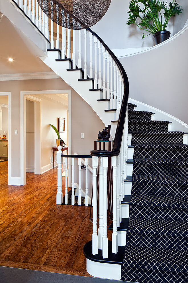 Black and white stairs in black and white wool rug