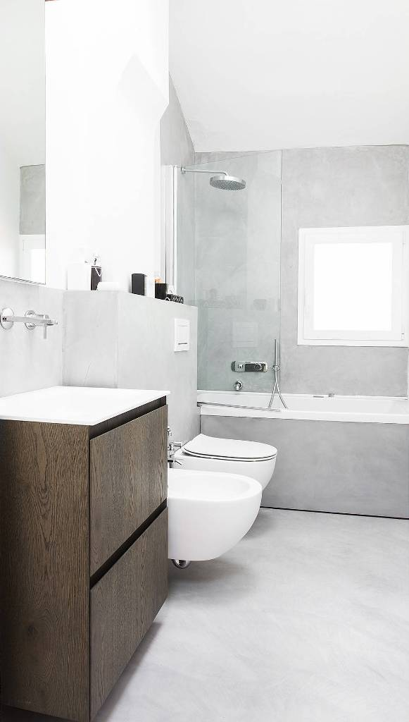 White and light gray combination bathroom