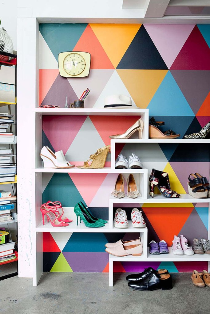 Shoes storage Ideas with triangle design colorful wallpaper