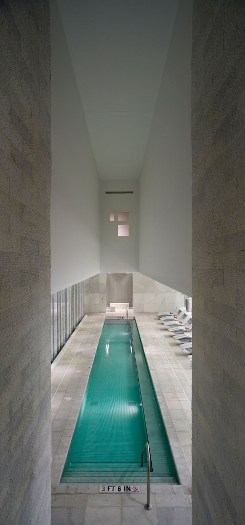Long narrow pool with high ceilings