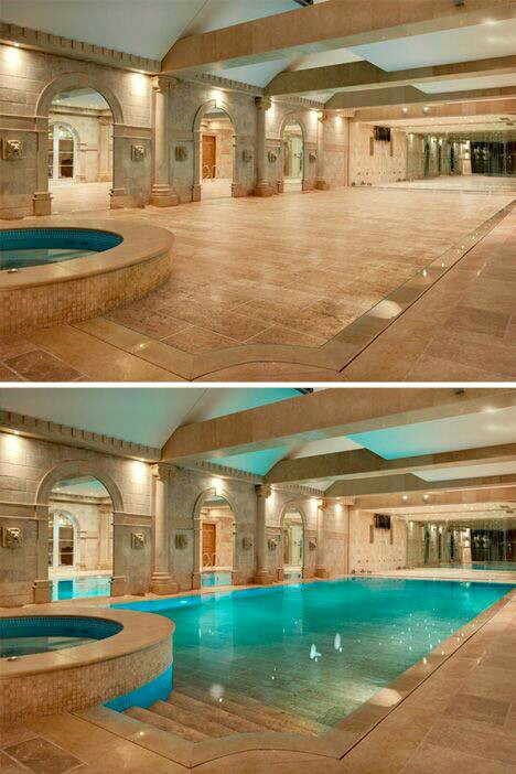 Hidden indoor pool design