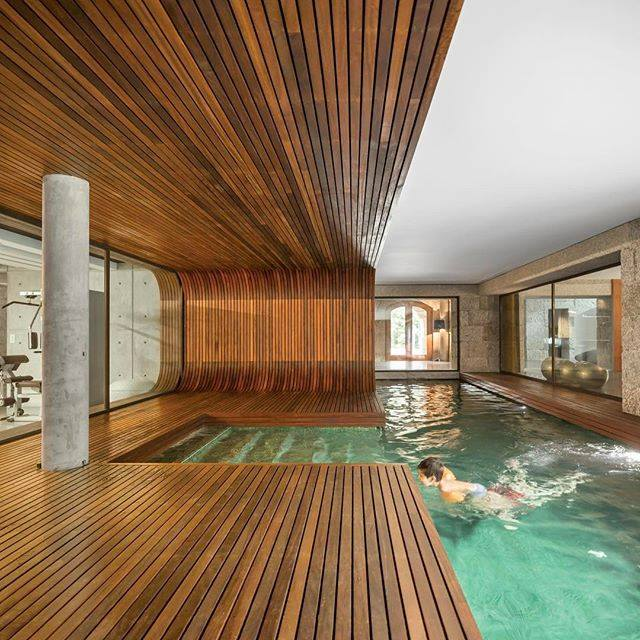 Modern woodwork indoor pool