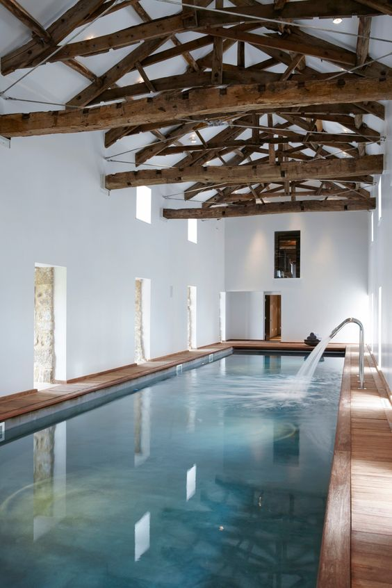 Rustic indoor pool