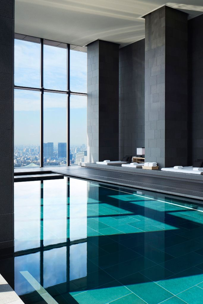 Indoor pool with great views of the city