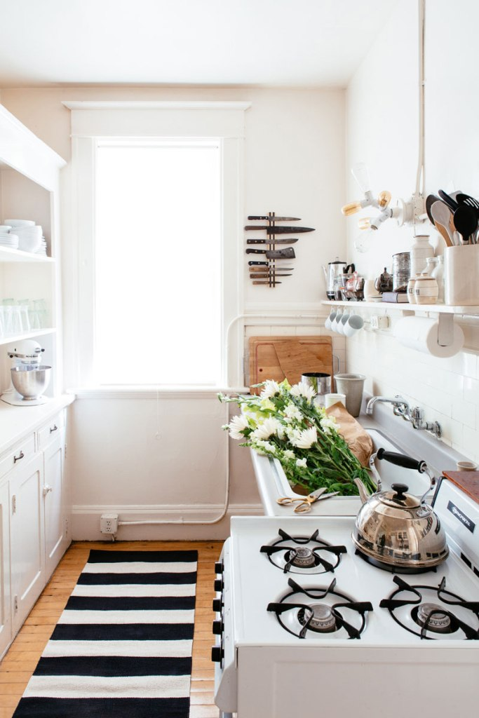 White wooden shelves and cabinets