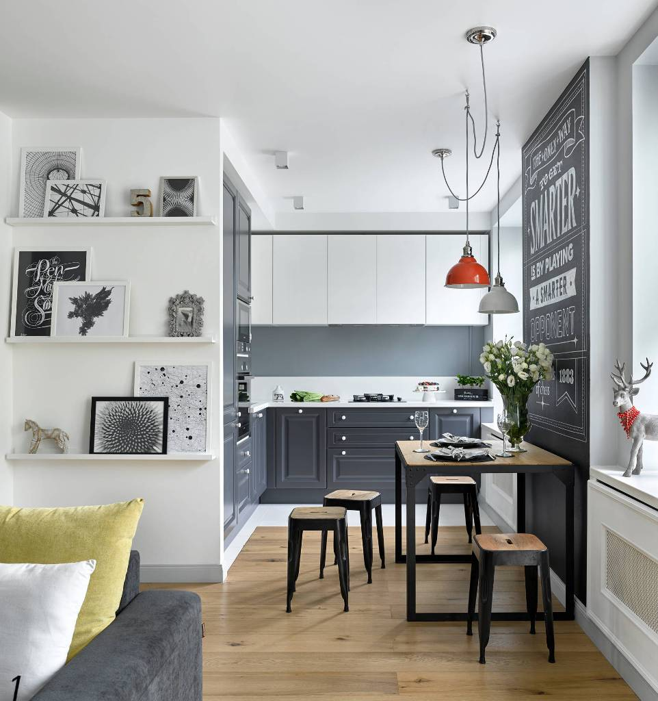 Dark gray with natural light kitchen