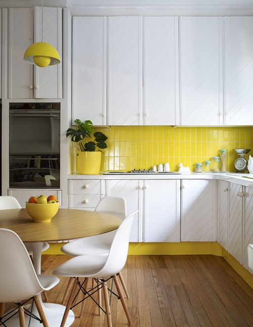 Yellow and white wooden kitchen