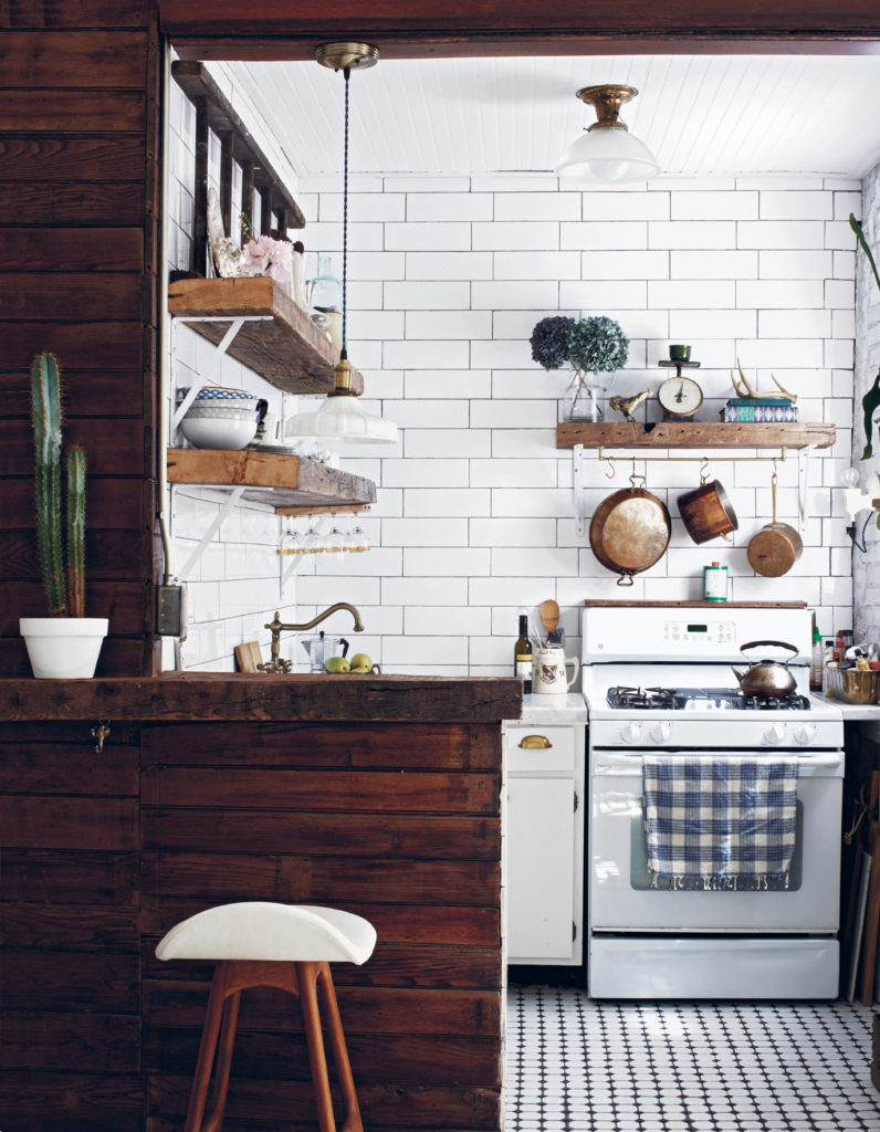 White tile with rustic wooden kitchen