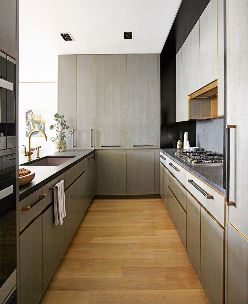 Gray G-shaped kitchen