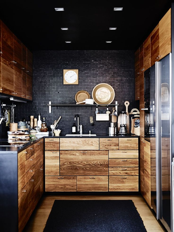 Elegant small black kitchen design