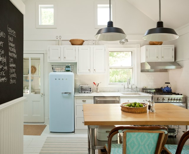 Milk work with bright color kitchen
