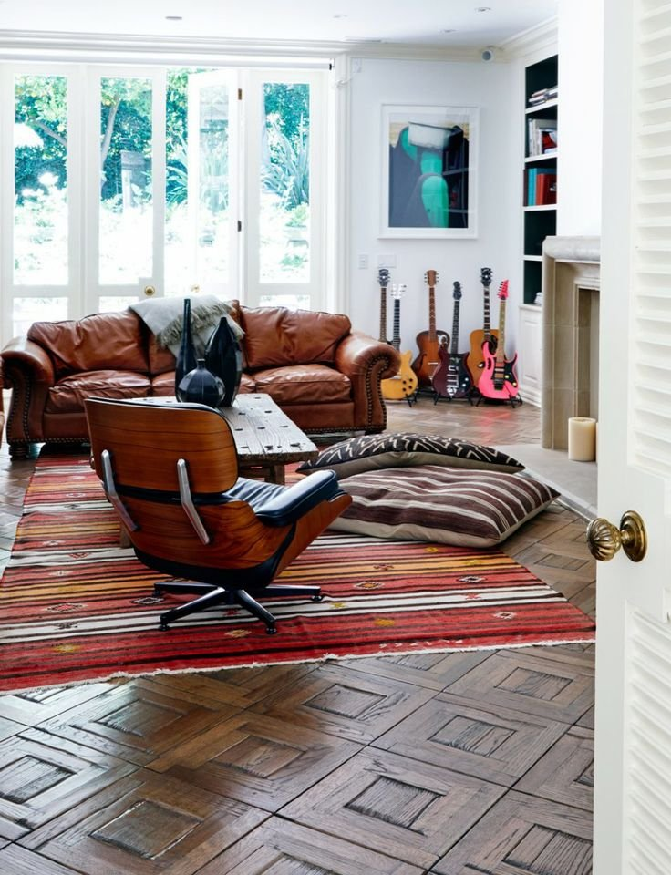Living room Brown leather chair and sofa