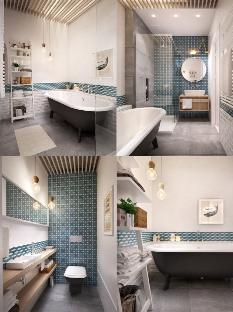 Beautiful bathroom with patterned wall