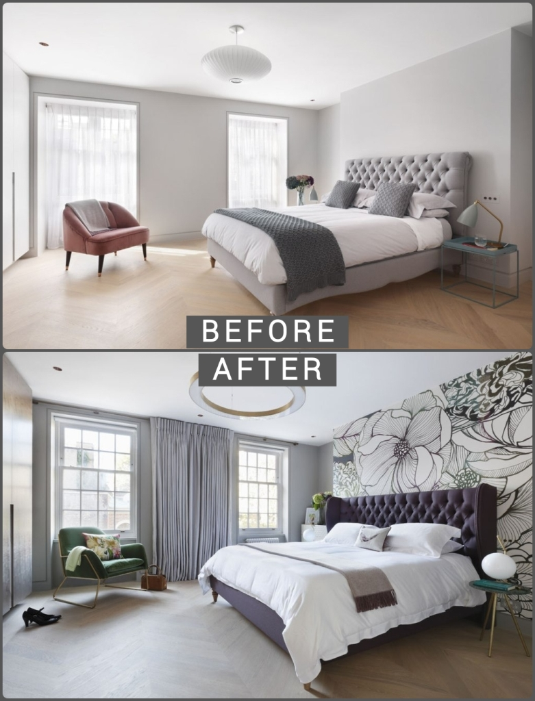 Natural color bedroom before and after