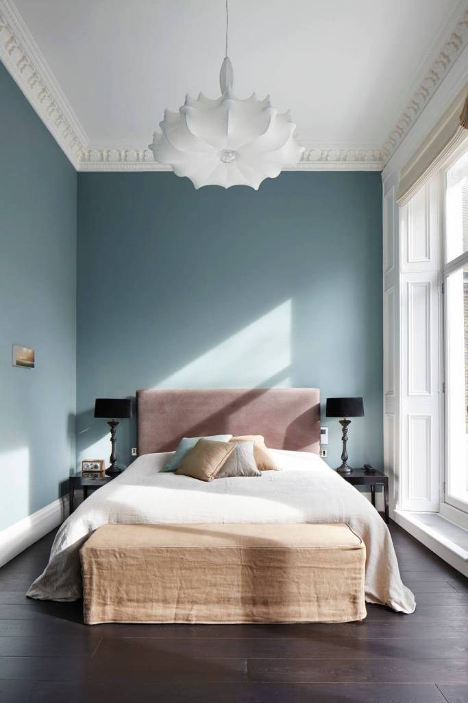 Peacefully neutral blue bedroom