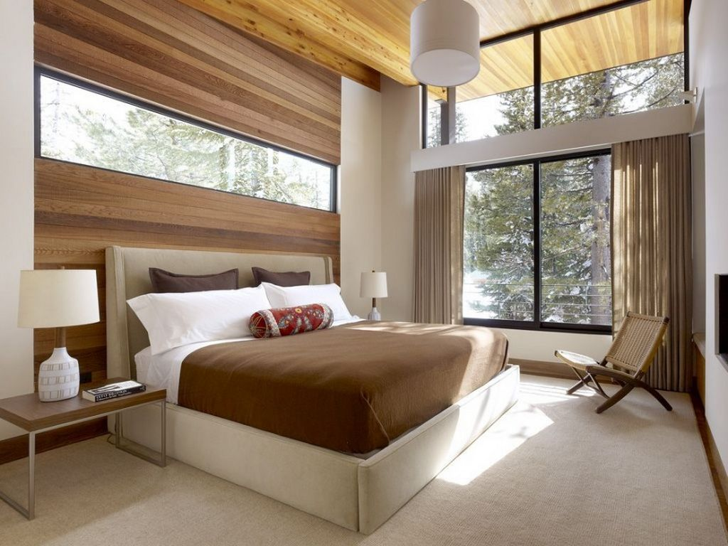 Modern bedroom with mountain views