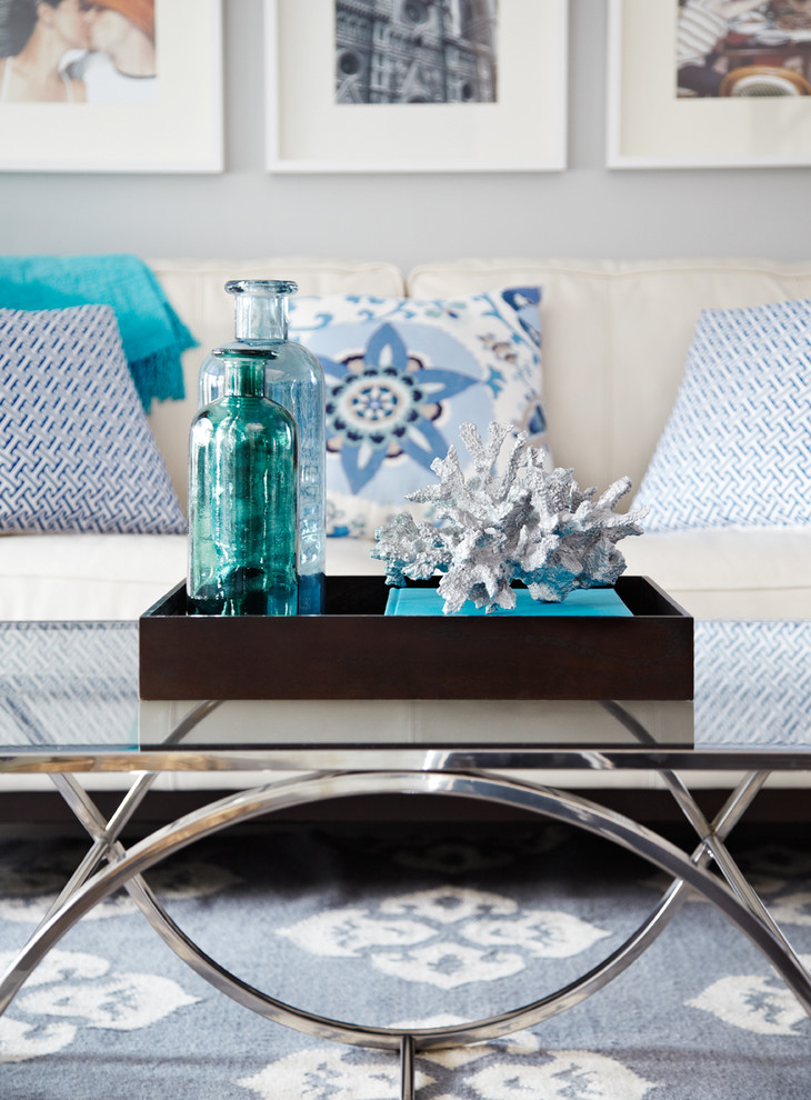 decorate the coffee table with a glass bottle