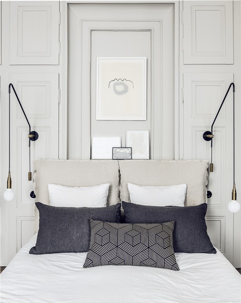 White bed matching with dark pillow