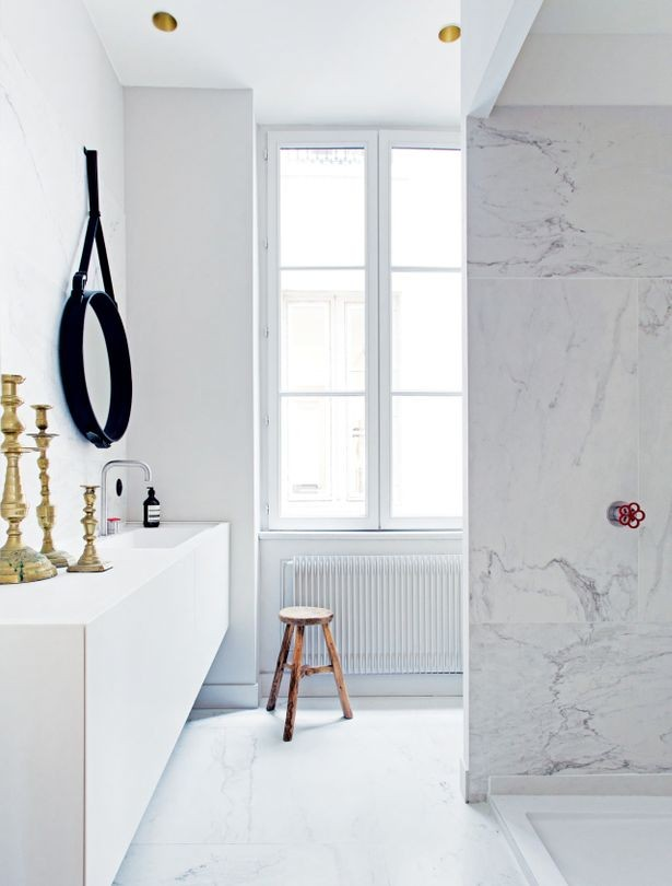 Simple design of marble bathroom
