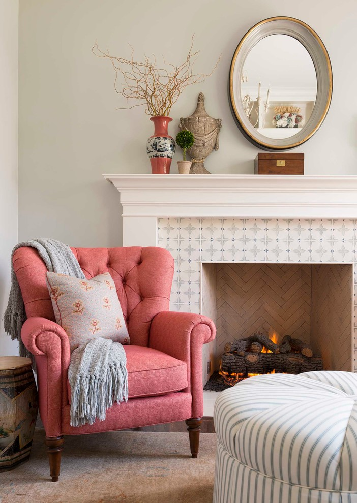 Living room simple decoration chair near fireplace