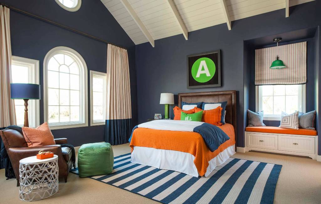 Blue bedroom with orange touch