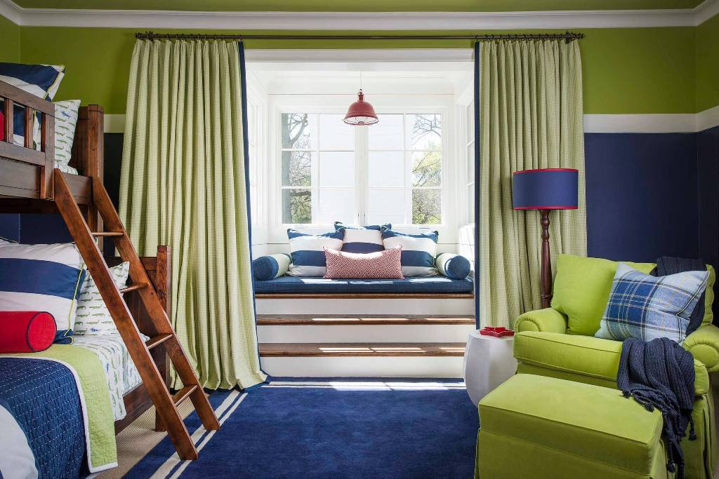 Blue And Green Mix Child Bedroom With Window Space