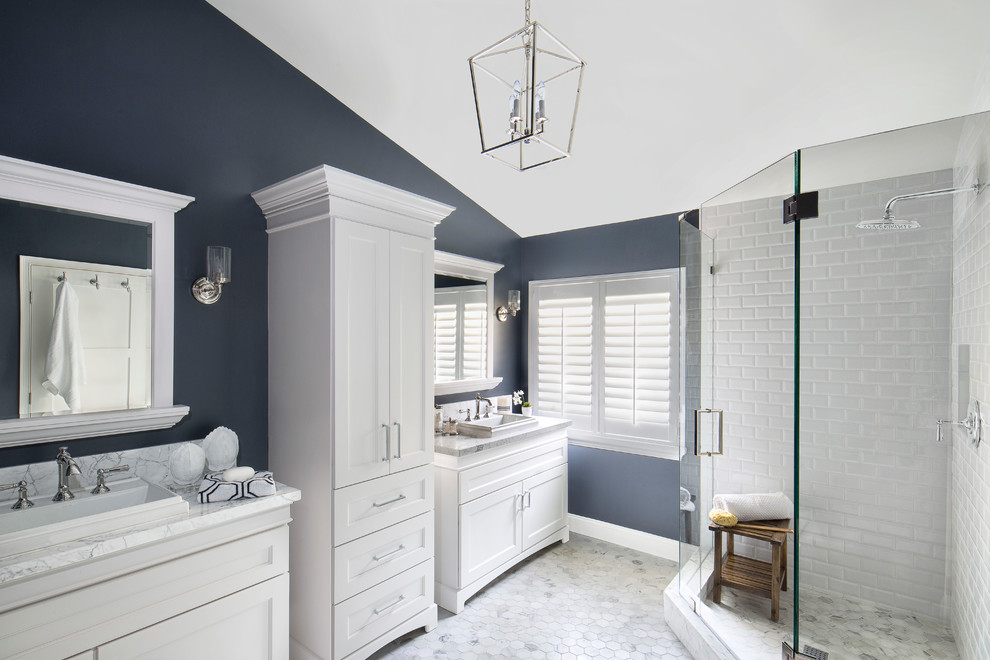 navy white bathroom