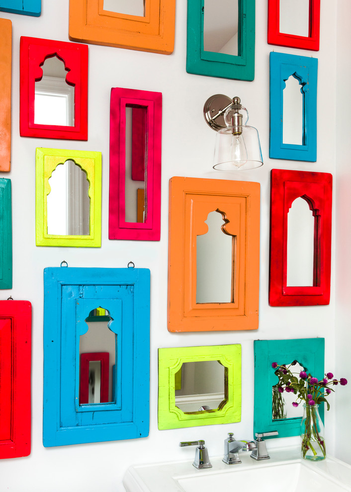 colorful framed wall mirrors bathroom