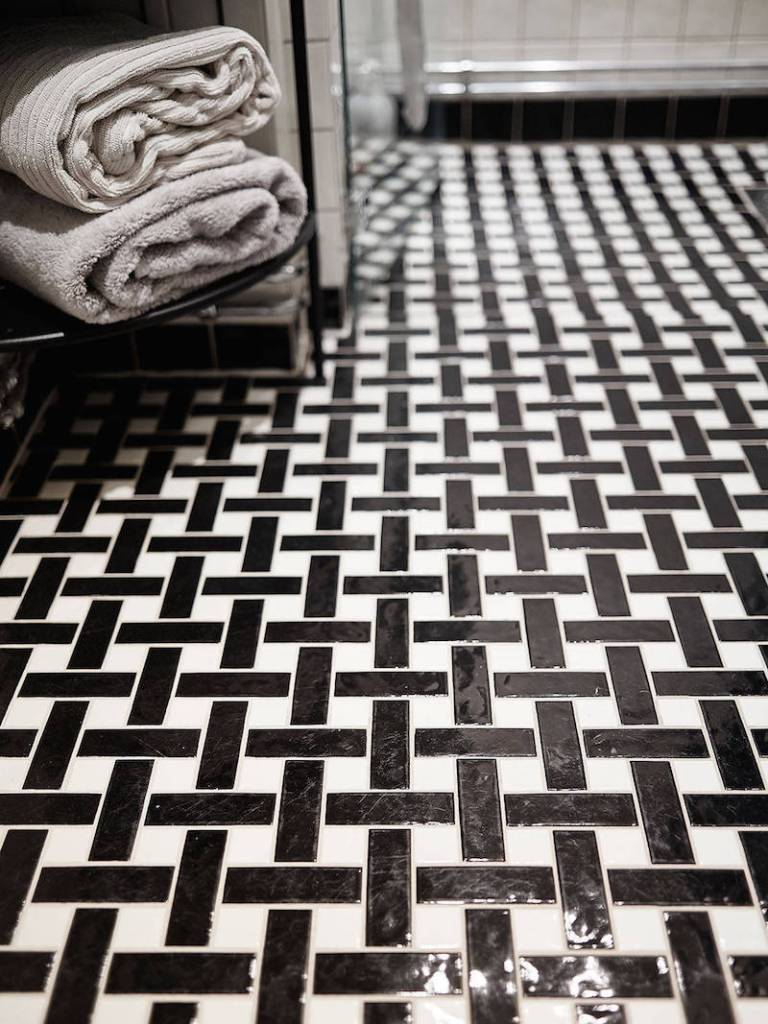 black and white floor tile pattern