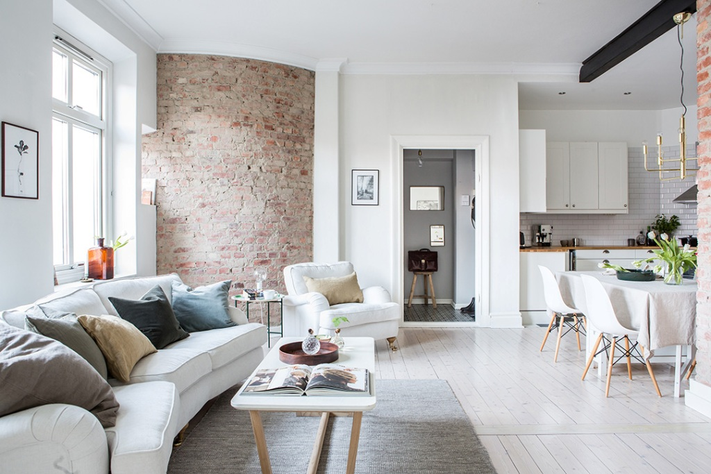 Living room brick wall white interior