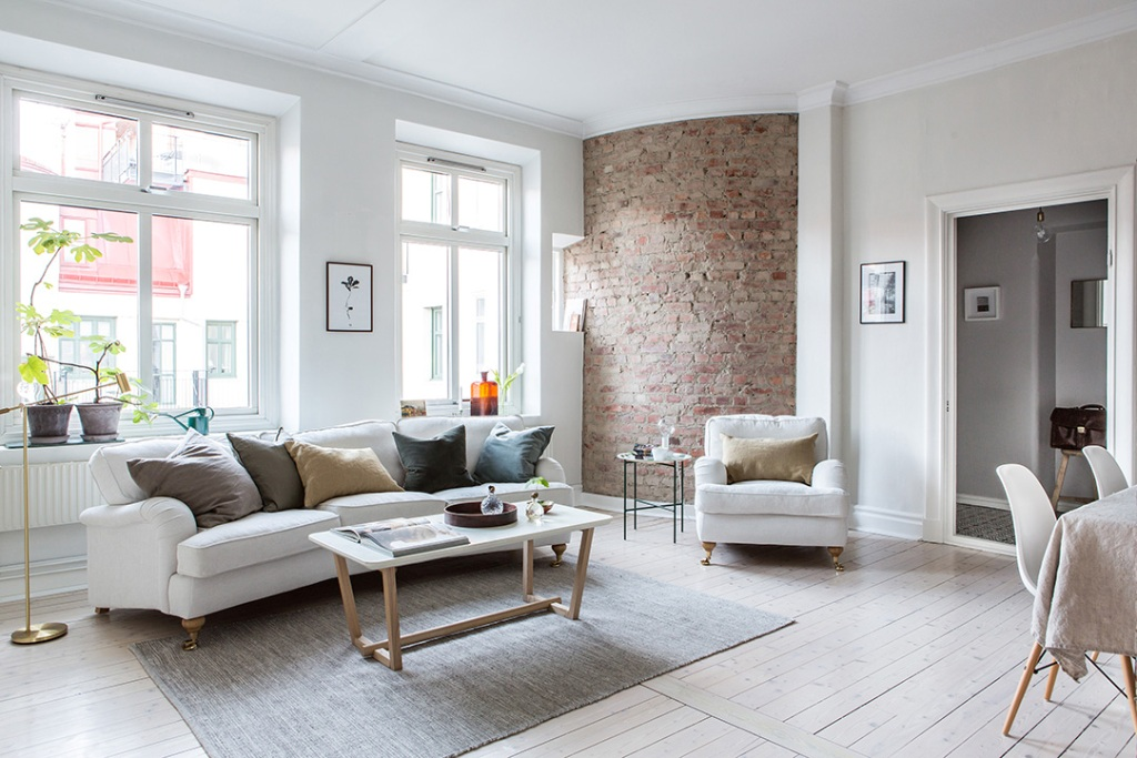 living room ideas for brick wall