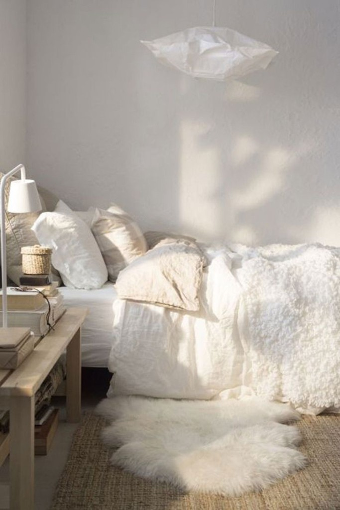 cozy white bedroom paper lamp