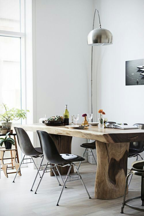 Dining table made of natural wood
